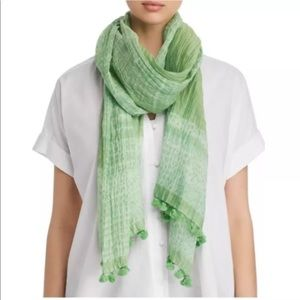 Eileen Fisher cotton silk green apple color scarf